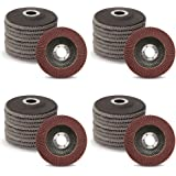 40-Pack 4-1/2-Inch Flap Discs for Removing Rust and Paint | 40 60 80 120 Grit Assorted Sanding Grinding Wheels, Type #27…