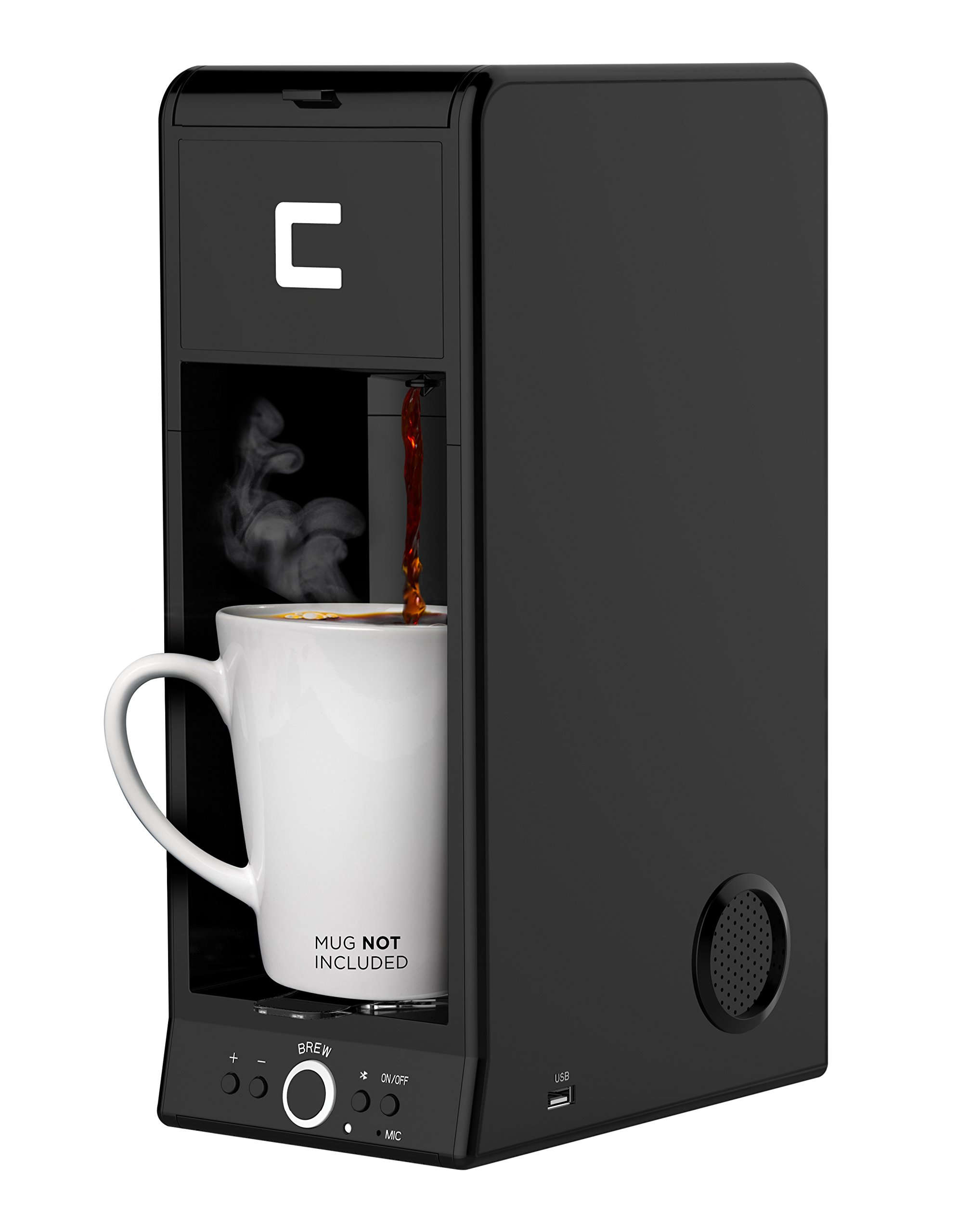 Chefman Coffee Maker K-Cup BUZZ Brewer with Bluetooth Enabled Speaker System and FILTER INCLUDED For Use With Coffee Grounds - Small Footprint Single Serve - RJ14-BUZZ by Chefman