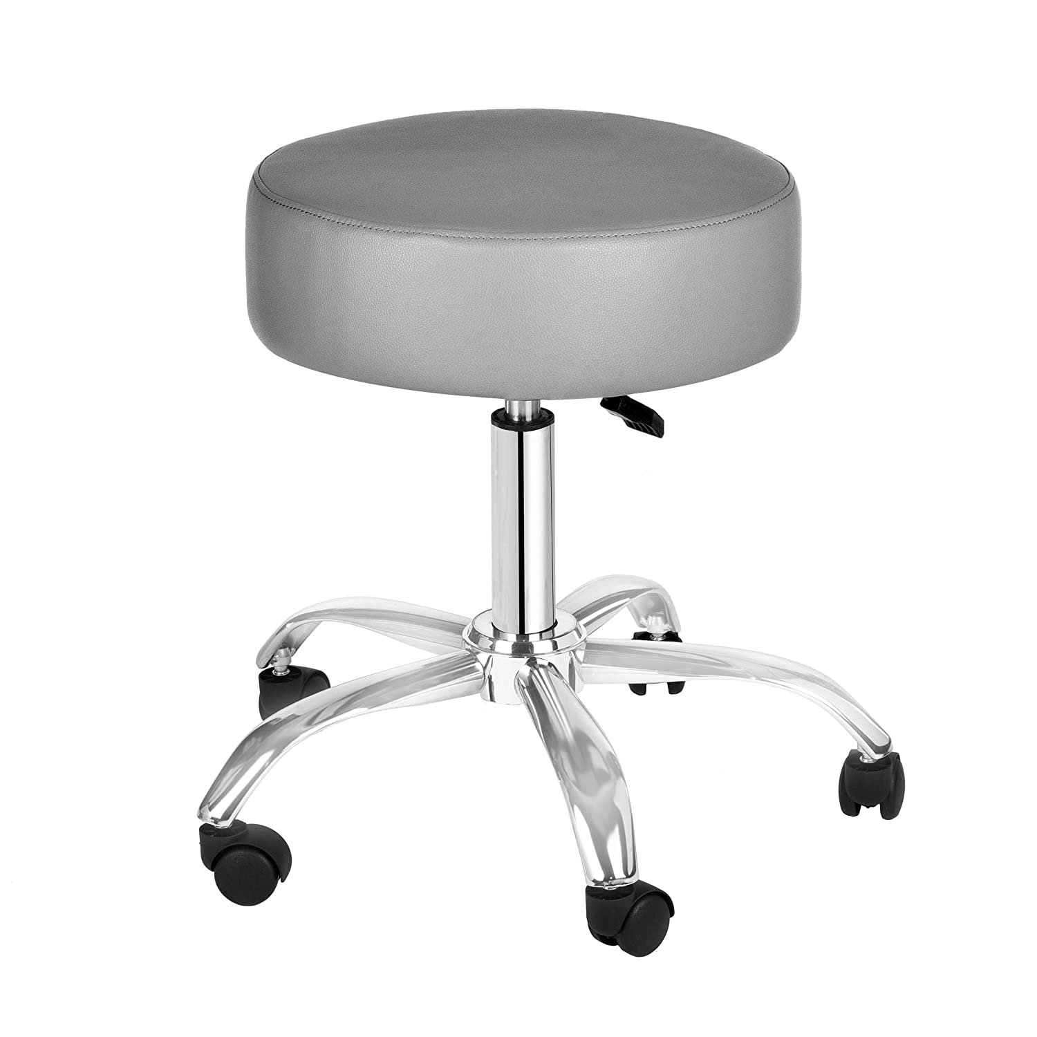 AdirMed Lux Height-Adjustment Stool – Pneumatic Rolling Swivel Stool – Versatile Mobility Elevation for Spa Salon Home Office Use Grey