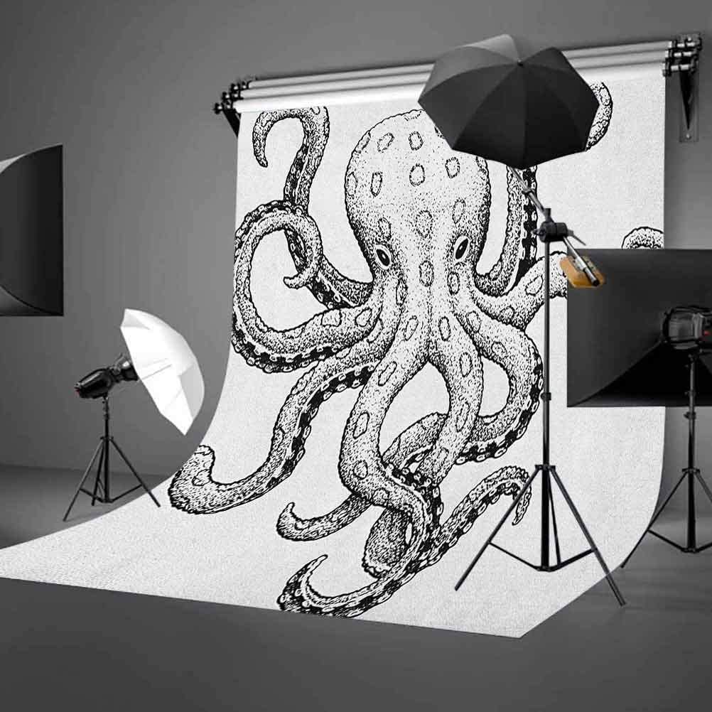 9x16 FT Vinyl Photography Backdrop,Sketch Style Print of Deadly Blue Ringed Octopus Camouflage Marine Animal Aquatic Background for Graduation Prom Dance Decor Photo Booth Studio Prop Banner