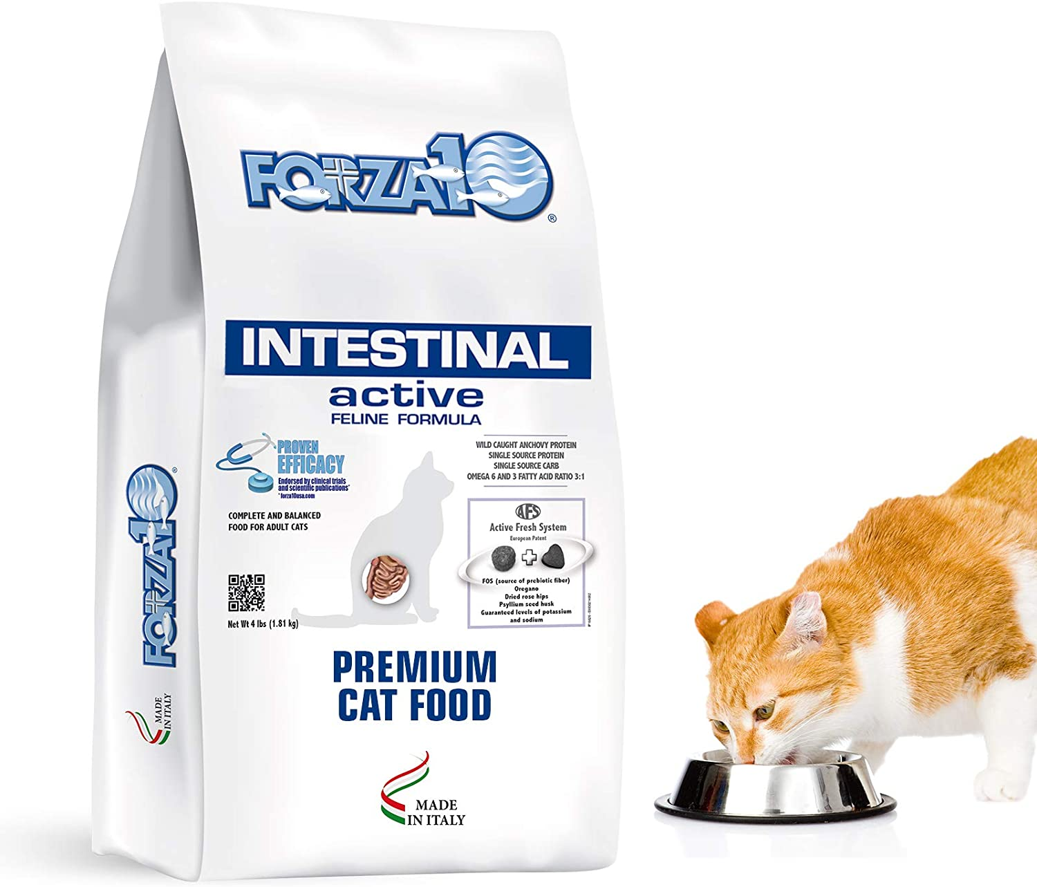 Forza10 Active Intestinal Support Diet Dry Cat Food for Adult Cats, Cat Food Dry for Upset Stomach, Diarrhea and Intestinal Disorders, Wild Caught Anchovy Flavor