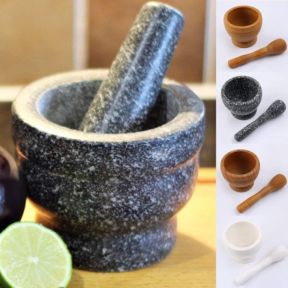 - Comme Image Show Bois Grain granite grain Pestles Mortiers Grincement Crusher Kit Naturel R/ésine Spice M/élange Broyeur Herbe Ensemble