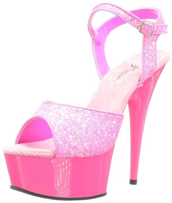 Sandalias de tacón con punta abierta Pleaser delight rosa neón