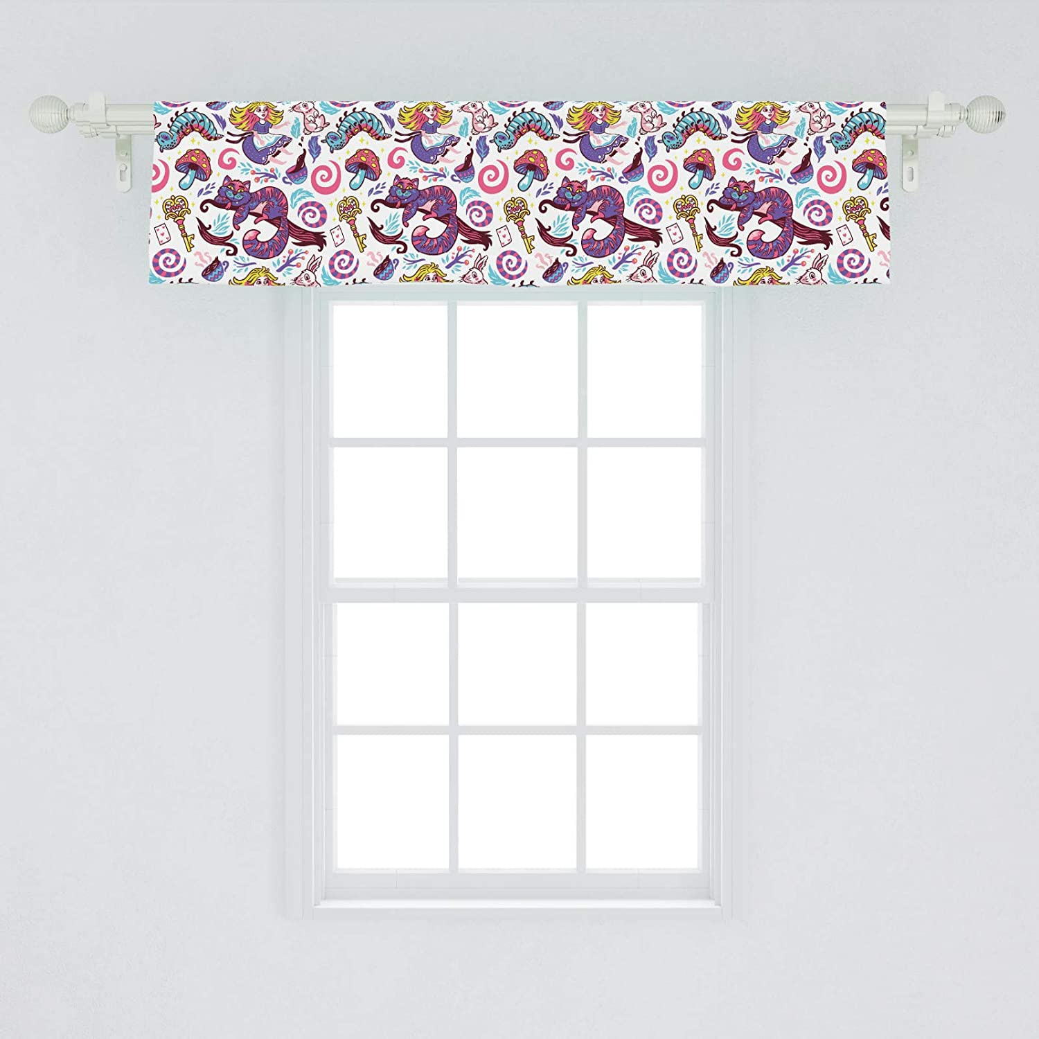 Ambesonne Alice In Wonderland Window Valance Fantasy World Fairy Tale Concept With Hand Drawn Caterpillar Cat Rabbit Curtain Valance For Kitchen Bedroom Decor With Rod Pocket 54 X 12 Purple Aqua Amazon In Home