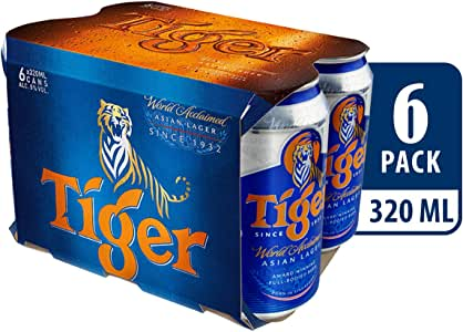 Tiger Lager Beer, 320ml, (Pack of 6)