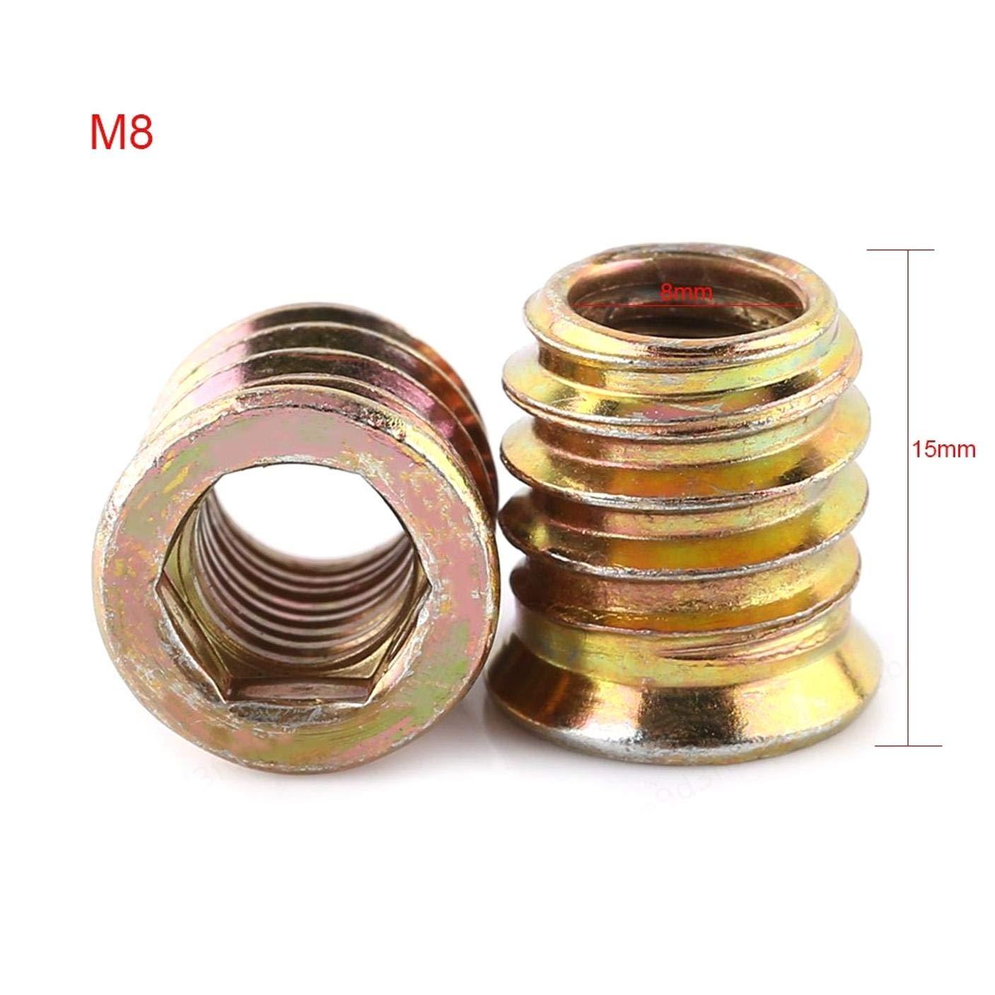M8 M6 * 10 mm LAQI Tuerca de Unidad Hexagonal de Muebles de aleaci/ón de Zinc de 20 Piezas M6 M10 Inserto roscado Surtido de Tuercas de inserci/ón de Madera