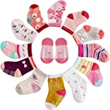 12 Pairs Assorted Toddlers Non-Skid Ankle Cotton Crew Baby Socks with Grip for Kids, Baby Girl Socks 12-36 months