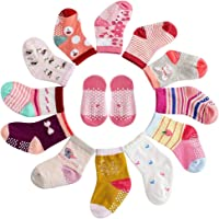 12 Pairs Assorted Non-Skid Ankle Cotton Socks Baby Girl Socks, Toddlers Crew Baby Socks with Grip