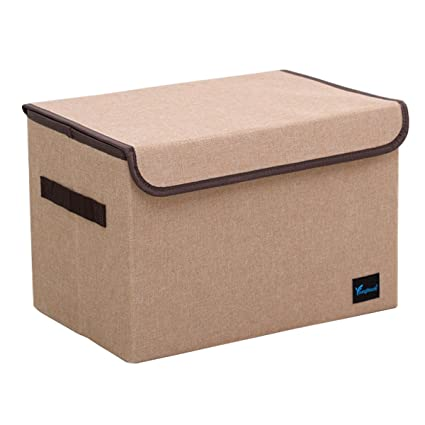 Binfiny Home Foldable Storage Cubes Ottoman Bins Portable Easy (Coffee)