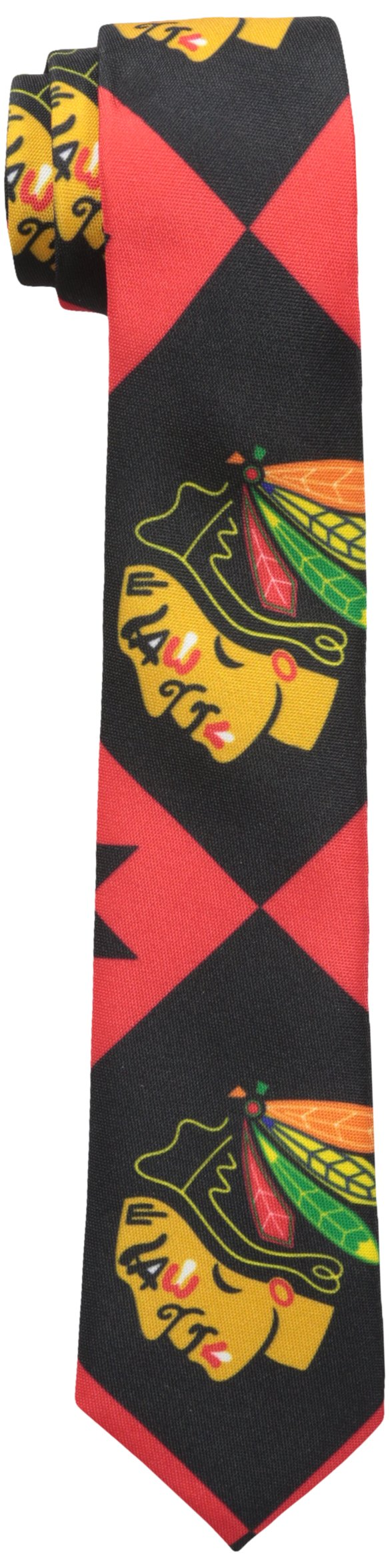 FOCO Chicago Blackhawks Patches Ugly Printed Tie - Mens by FOCO