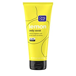Clean & Clear Lemon Zesty Facial Scrub with Lemon Extract & Vitamin C, Buffs & Brightens With Gentle Micro-Scrubbies, Oil-Free Vitamin C Face Scrub, 6.7 Oz Vitamin C Facial Scrub