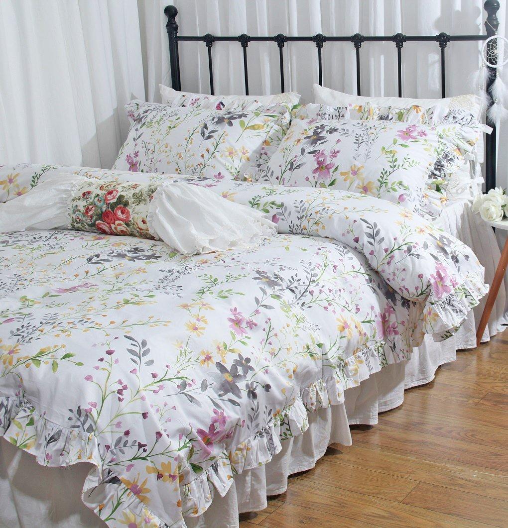 Queens House Shabby Floral Pattern Bedding Duvet Cover Sets Full-A Queen/'s House 180317-egypt-duvet-A-full