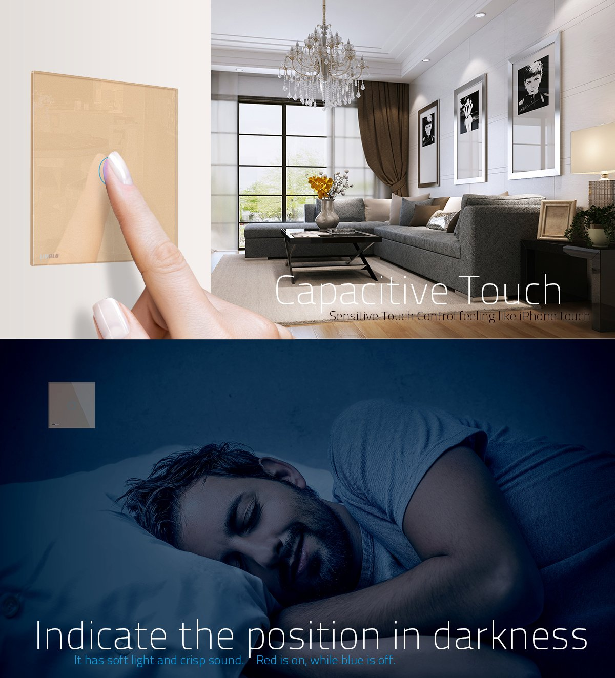 VL-C301R-61-R LIVOLO Smart Wireless Remote Control Light Switch White with LED Indicator with Tempered Glass Panel Wall Touch Light Switch 1 Gang 1 Way