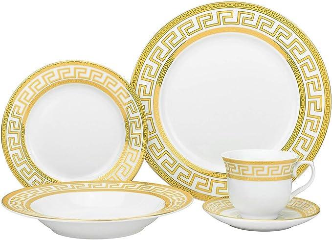 20 Pcs Pink//Gold Leopard Greek Key  Versailles Dinner Set Service for 4