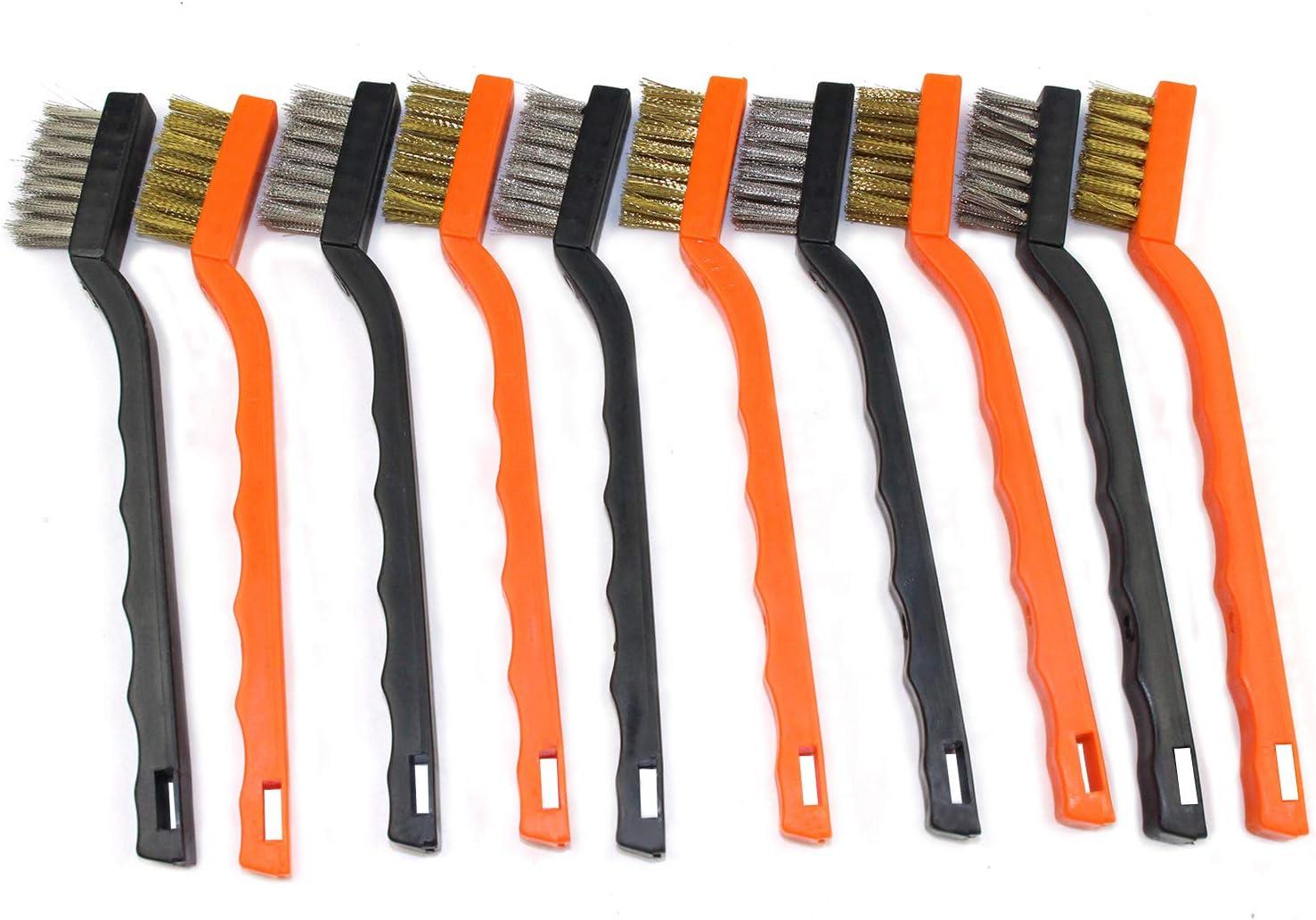 3 piezas de lat/ón y cerdas de nailon con mango curvado 17,7 cm cepillos descalcificadores para limpiar escoria de soldadura y /óxido Cepillo de alambre