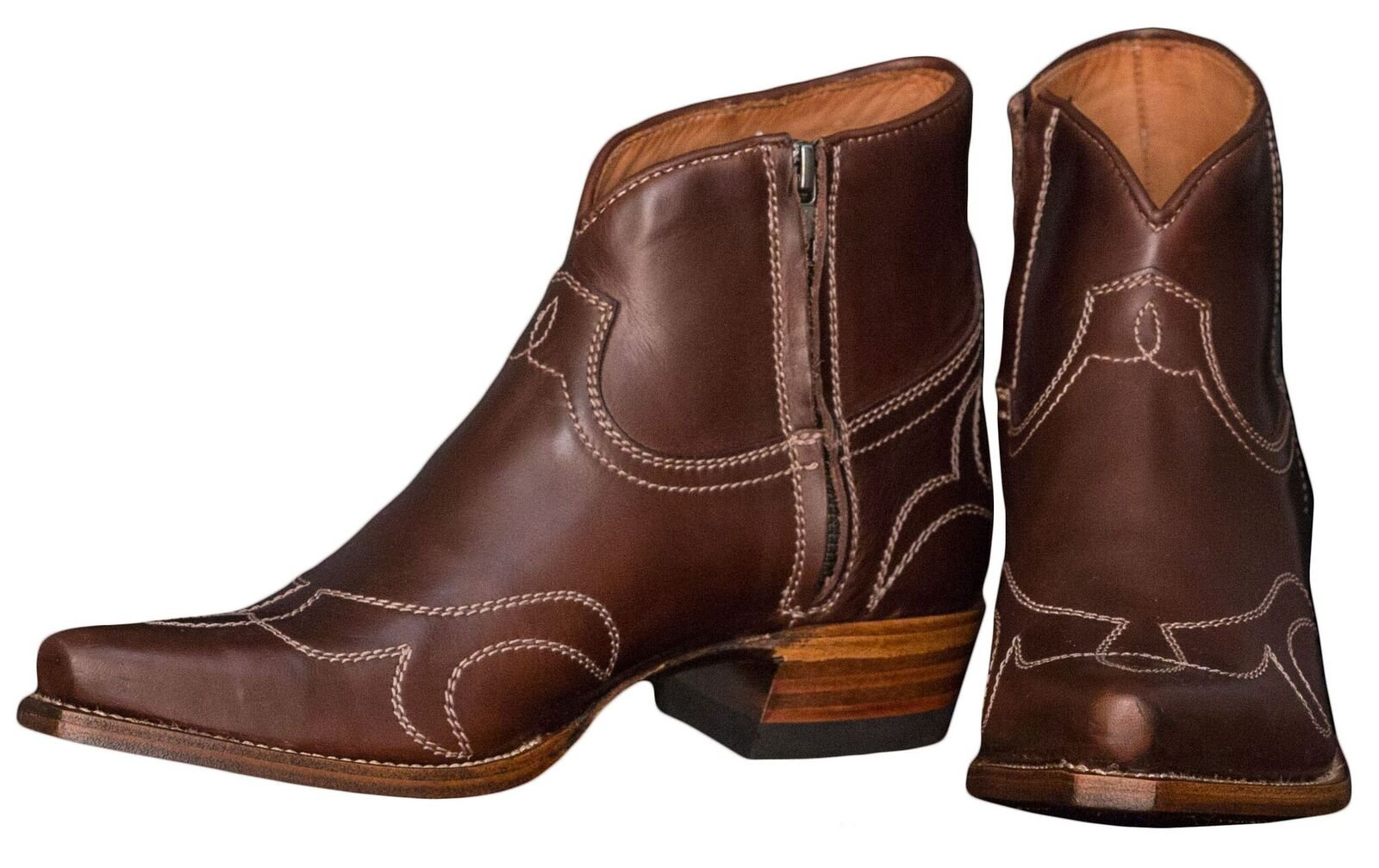 Ranch Road Boots Women's Bell County Short Cowboy Boot Zip Up Bootie Size 6 Brown