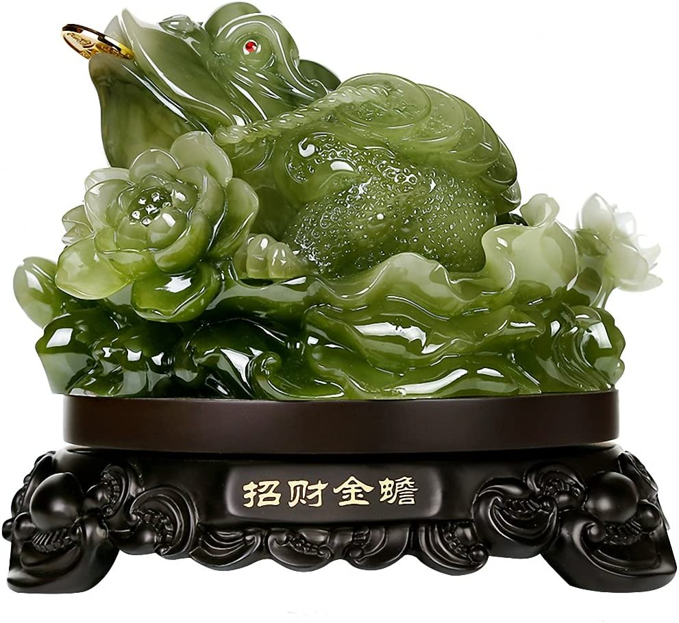 "BOYULL Feng Shui Money Frog (Three Legged Wealth Frog or Money Toad) Statue,Feng Shui Decor,6.9""(W) x 6.5""(H)"