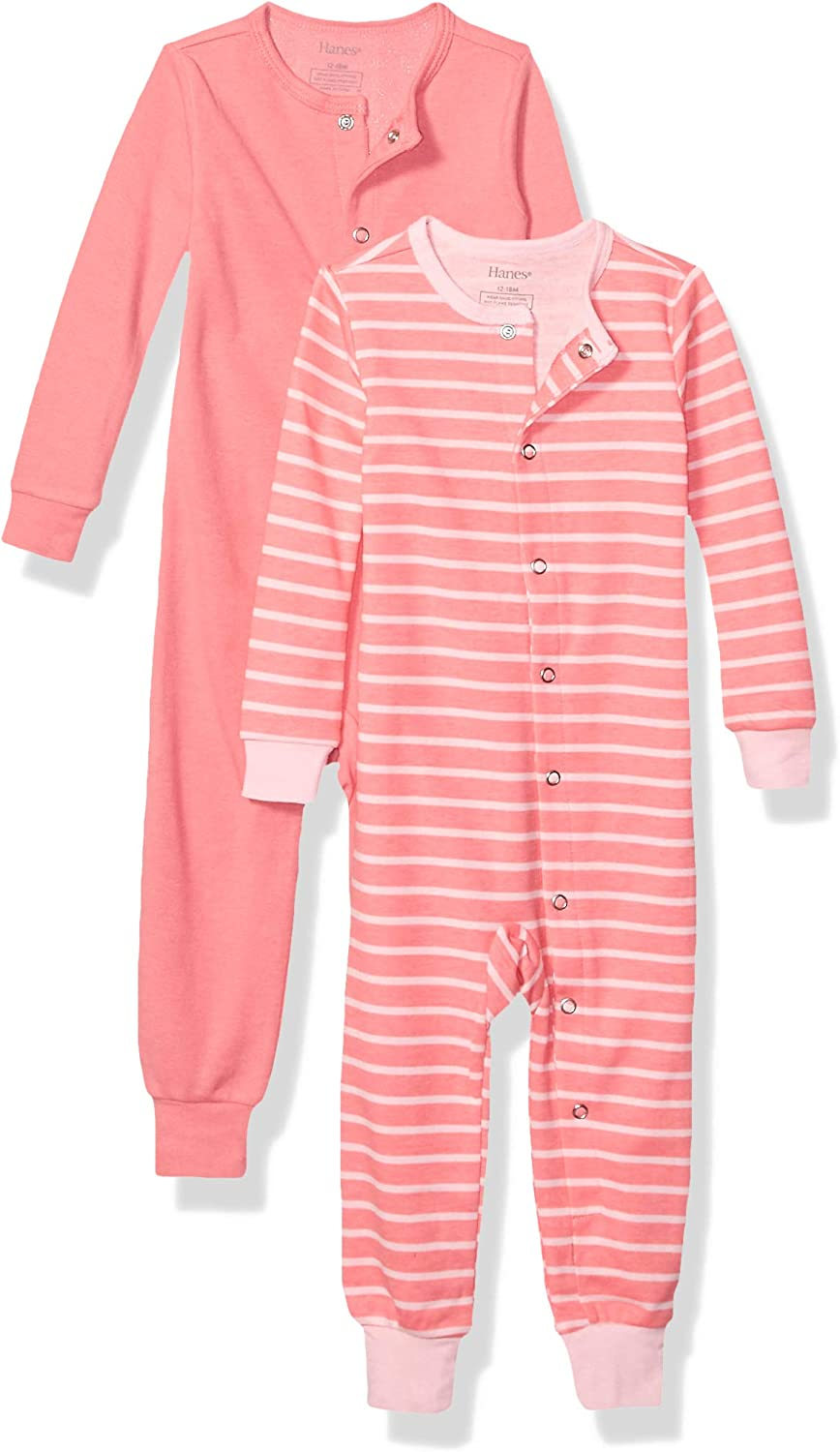 18-24 Months Hanes Ultimate Baby Zippin 2 Pack Sleep and Play Suits Grey//Pink Stripe