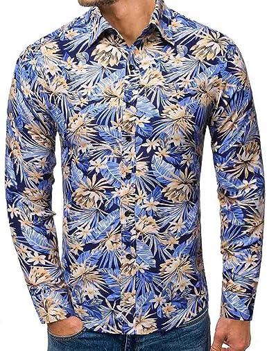 Camisa Estampada para Hombre con Botones Shirt con Solapa ...