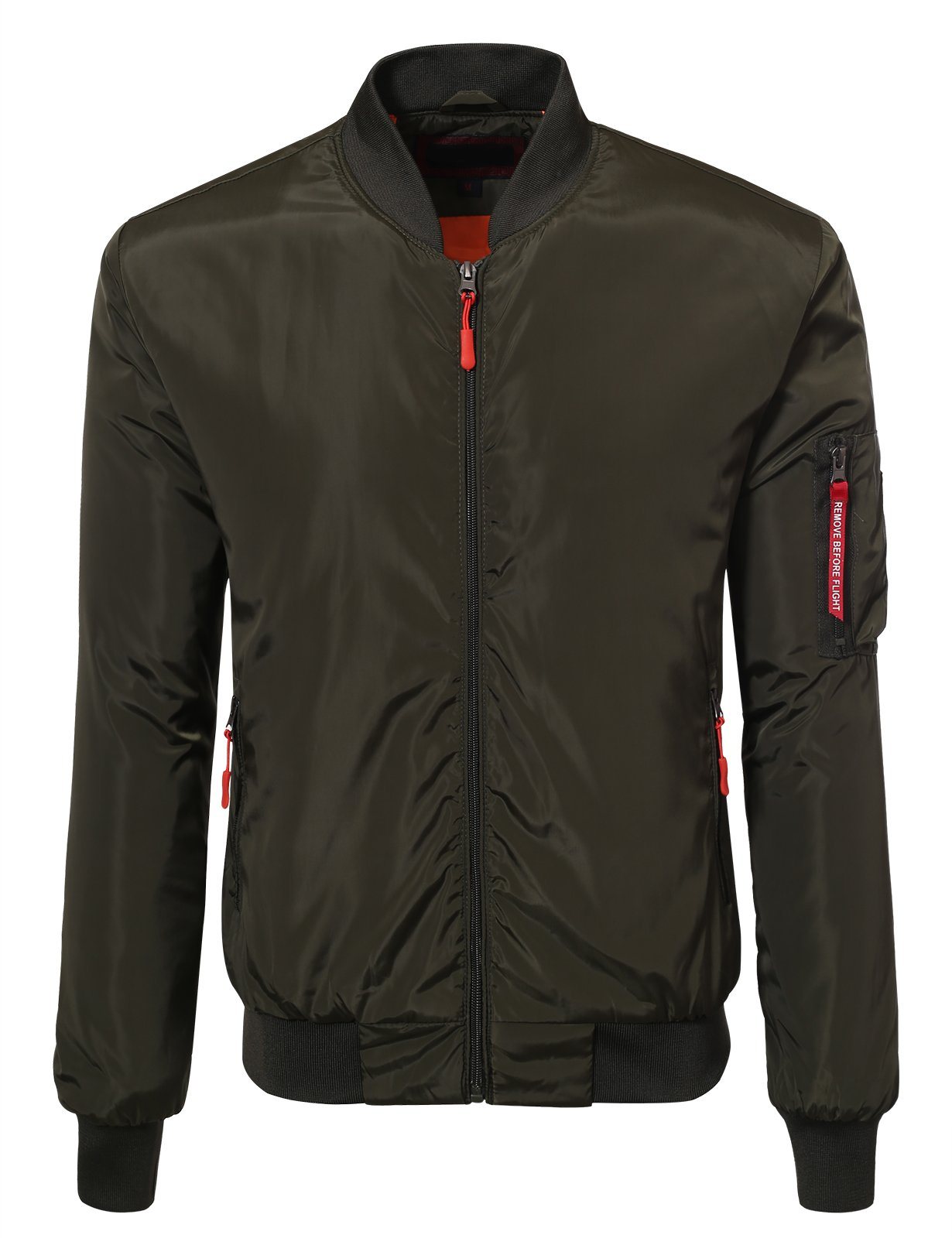 JD Apparel Men's Lightweight Slim Fit Bomber Jackets Large Olive