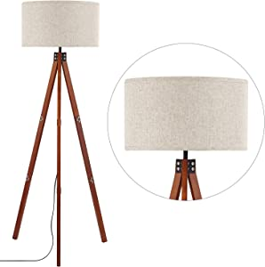 Wood Tripod Floor Lamp, Modern Standing Light with E26 Lamp Base, Wood Floor Reading Lamp for Contemporary Living Room, Bedroom, Study Room and Office