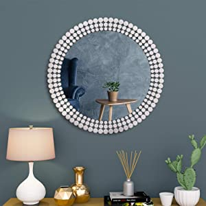 "Large Antique Wall Mirror Ornate Glass Framed Venetian Decor Mirror Bedroom, Bathroom, Living Room (W 31.5"" x H 31.5"" Round)"