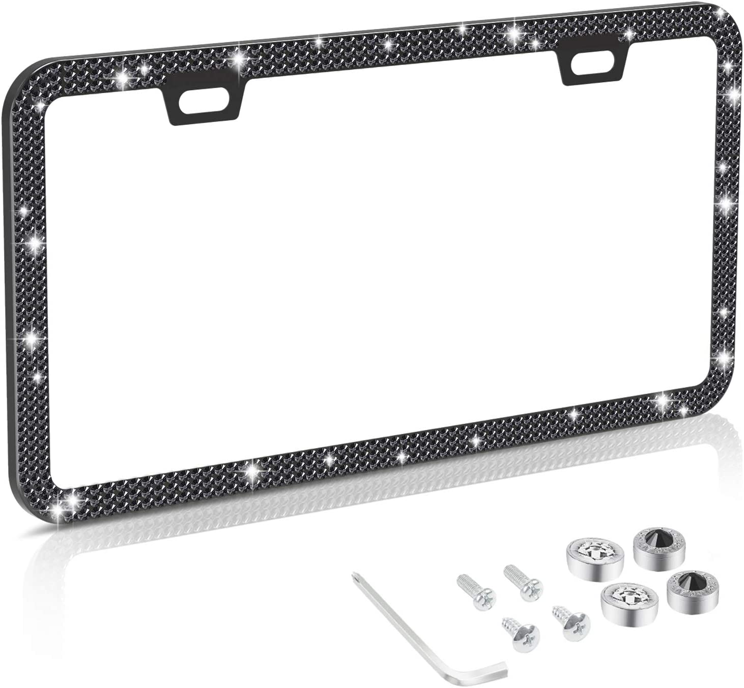 Stainless Steel Thin Border Black Diamond License Plate Frames with Anti Theft Screw Caps ZHSX Bling Rhinestone License Plate Frame for Women