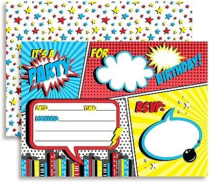 Superhero Invitations Superhero Hero Digital Papers Superhero Birthday Comic Book Instant Download Comics