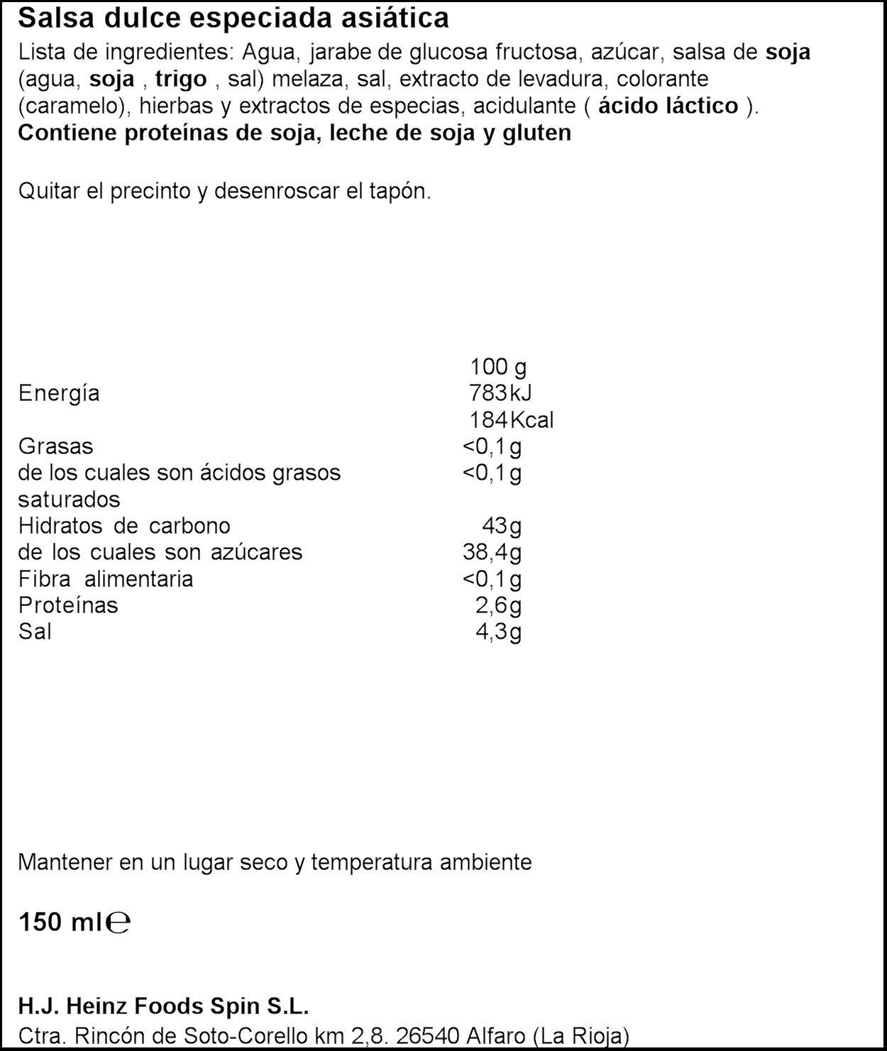 Heinz - Salsa Soja - Cristal 150 ml - [pack de 4]: Amazon.es: Alimentación y bebidas