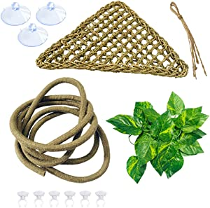 ZYYRT Bearded Dragon Hammock Reptile Tank Accessories Jungle Climber Vines Flexible Leaves Habitat Reptile Decor for Climbing, Chameleon, Lizards,Gecko,Snakes