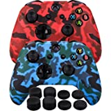 MXRC Silicone Rubber Cover Skin case Anti-Slip Water Transfer Customize Camouflage for Xbox One/S/X Controller x 2(red…