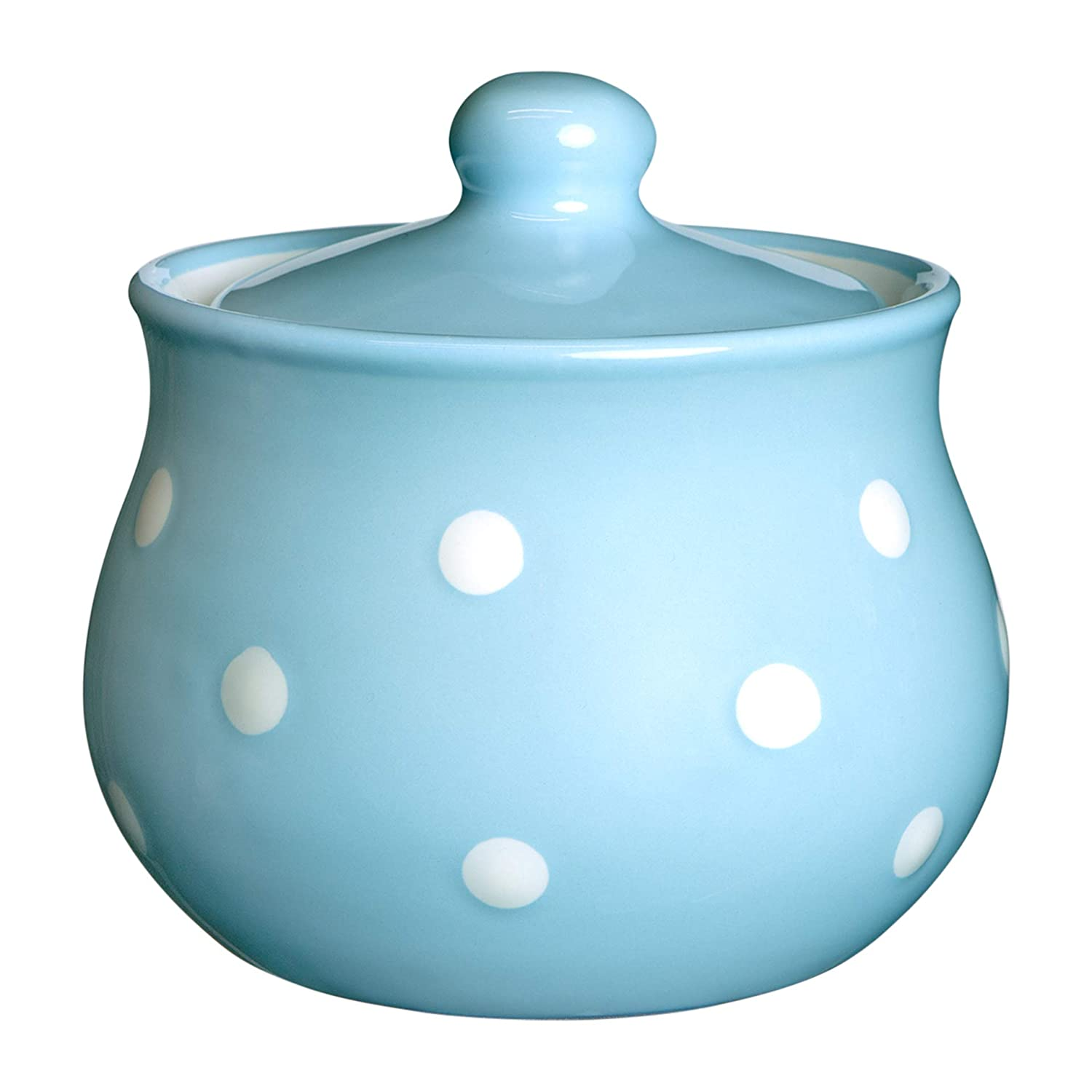 City to Cottage Light Sky Blue And White Polka Dot Spotty Handmade Hand Painted Ceramic Sugar Bowl Pot With Lid | Jam Honey Jar citytocottage.co.uk