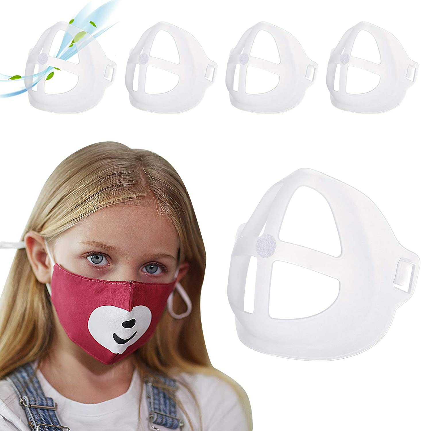 3D Mask Bracket for Kids - 5 Pack Face Mask Inner Support Frame with Hook & Loop, More Space for Comfortable Breathing Protect Lipstick Washable Reusable