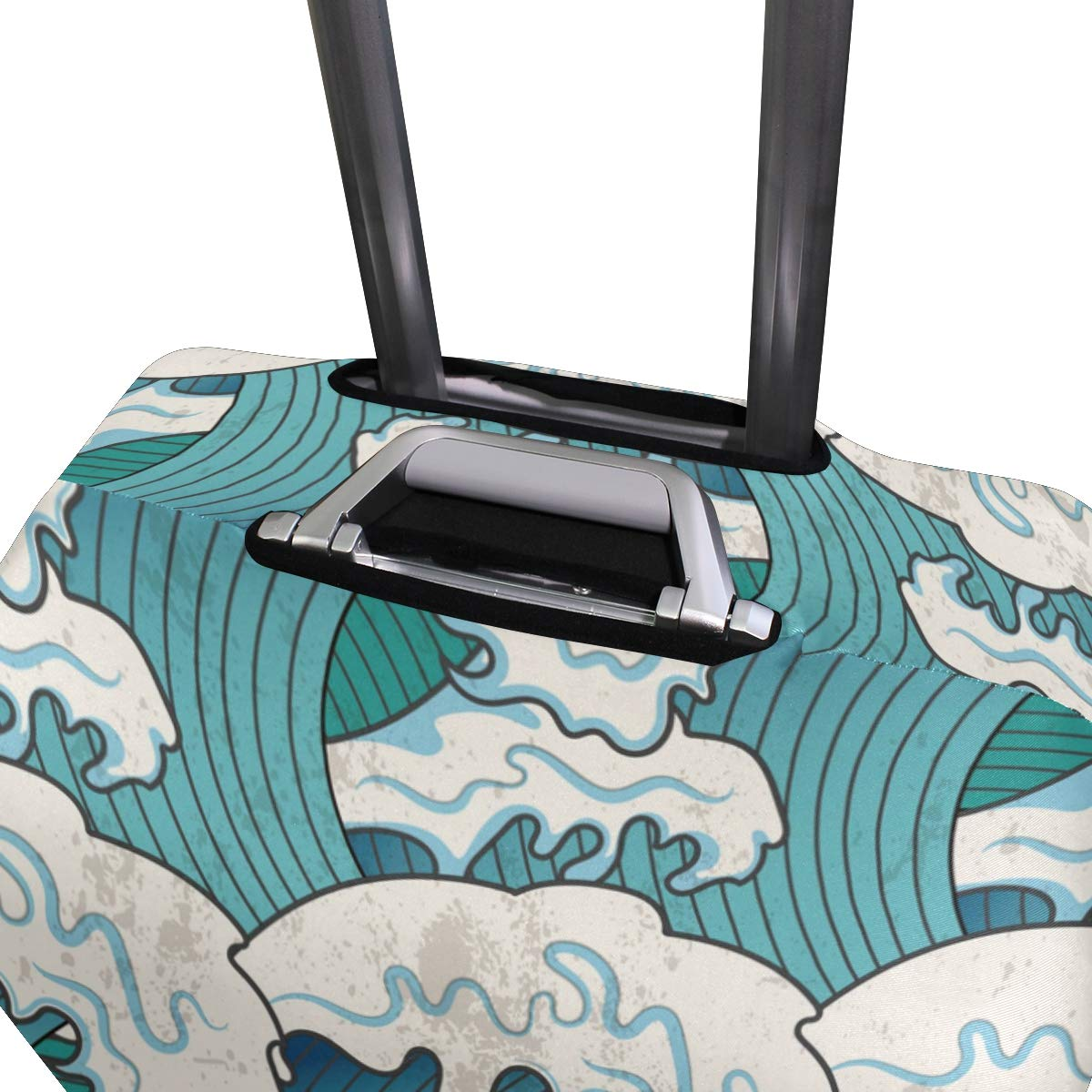 Baggage Covers Japanese Sea Waves Blue Ocean Washable Protective Case