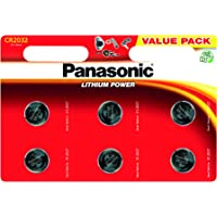 Panasonic CR2032 Lithium 3 Volt Battery card of 6