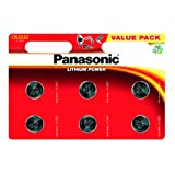 Panasonic CR2032, Pile al Litio, 3 V, Conf. 6 Pezzi