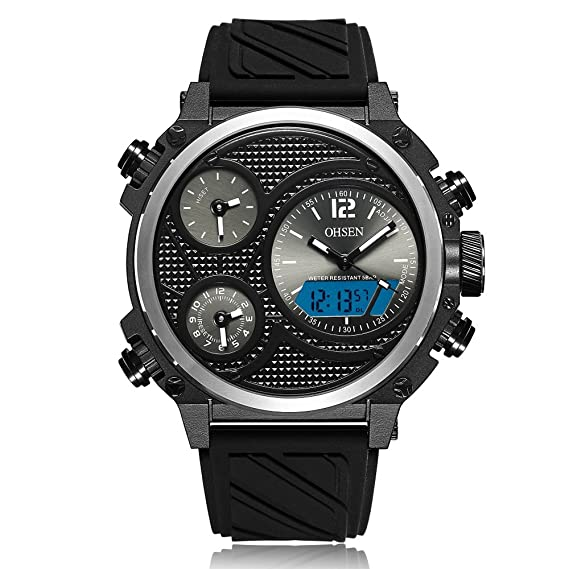 OHSEN ad1801 Casual correa de silicona cuarzo electrónico reloj Hombre reloj: Amazon.es: Relojes