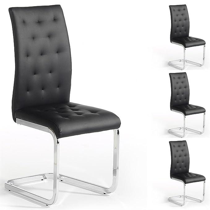 IDIMEX 4er Set Esszimmerstuhl Schwingstuhl Freischwinger Chloe, in schwarz, Metallgestell hochwertig verchromt