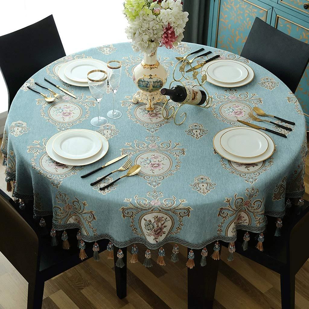 テーブルクロス,テーブルカバー テーブルクロス、家族のためのラウンドテーブルクロスまたは集い用防塵テーブルクロス、屋内または屋外のパーティー用キッチンテーブルクロス、3色 (色 : 青, サイズ さいず : 240cm) 240cm 青 B07S87VRFJ