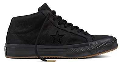 d3044992e6bf Converse - One Star Mid - Black Black- Leather (Water Repellent ...