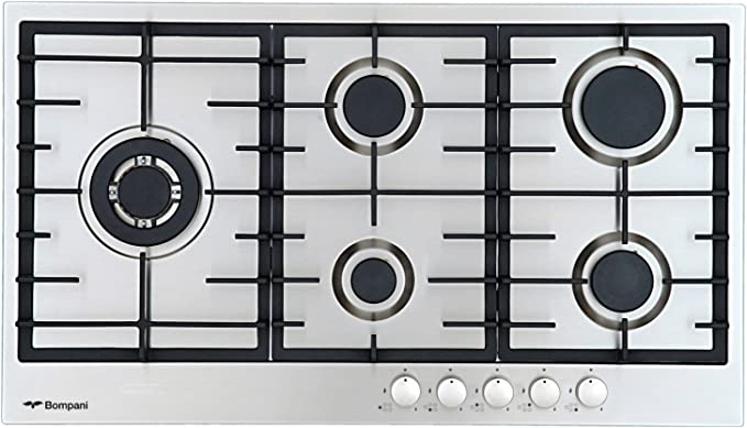 Bompani Luxury Stainless Steel Gas Hob 86 Cm Autark 5 High Quality Gas Burner Hob Hob Wok 3 8 Kw Single Lever Gas Field Beat Ignition Safety Valves Built In Hob Gas Burner With Tables Auto Off Natural Gas Propane Made In Italy Amazon De Large Appliances