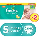 Pampers Baby-Dry Diapers, Size 5, Junior, 11-18kg, Double Giant Box, 208 Count