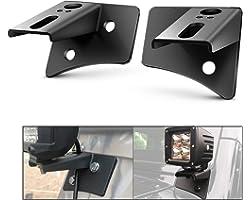 Nilight - 90026B 2PCS Jeep JK A-Pillar Windshield Hinge Mounting Brackets for Offroad LED Fog Light Halogen Work Light for 20