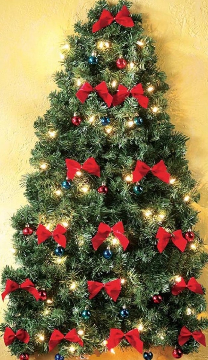 CE AS Pre Decorated Wall Hanging Christmas Tree w Red Bows & Mini Ornaments Gift of Space
