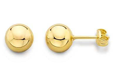a7d68f99d Miore Earrings Women studs Ball Yellow Gold 9 Kt/375: Amazon.co.uk:  Jewellery