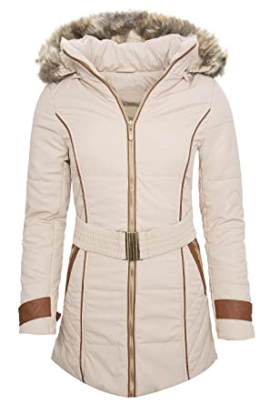 Damen Winter Jacke Parka Mantel Lang Steppjacke Fell B175a B175a
