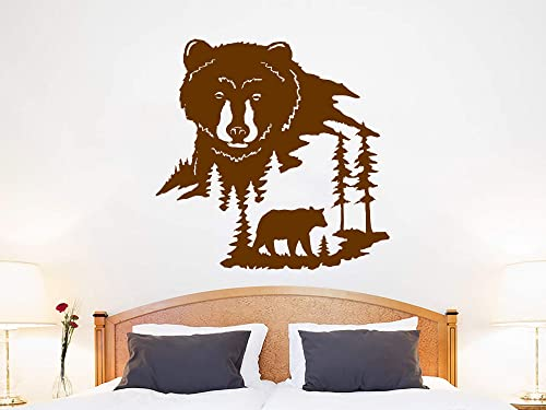 Amazon Com Bear Animal Wall Sticker Bear Wall Decal Woodland Living Room Bedroom Decoration Bear Nature Wall Art Woodland Nursery Decor C720 Handmade