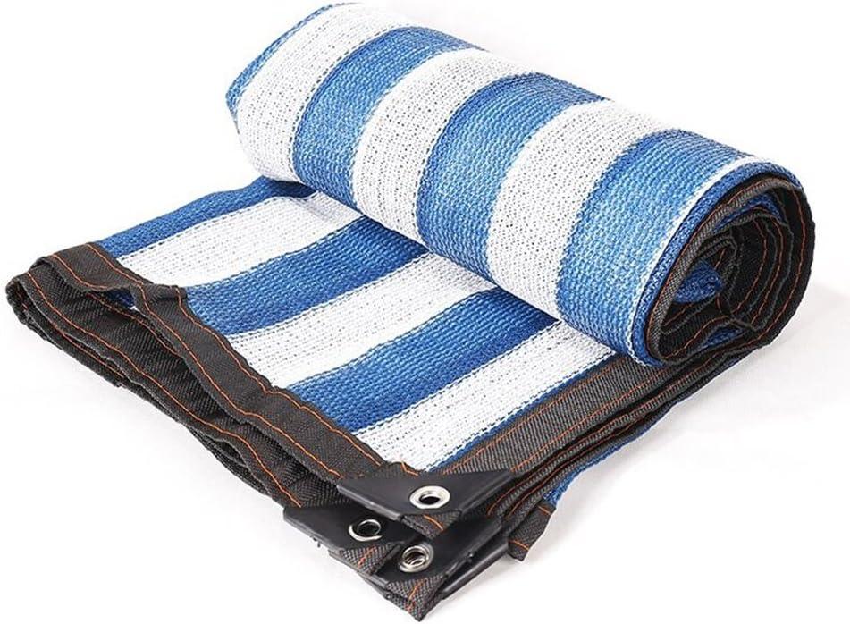 FHH カラー日焼け止め日焼け止めネット暗号化肥厚日除けネットワークハイエンドヴィラ中庭温室車屋根断熱ネットワーク (Color : 青+白い, Size : 4*6m) 青+白い 4*6m