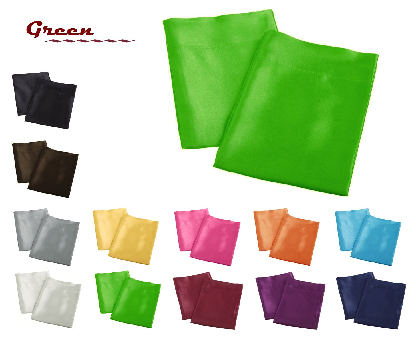 Creative 2 Pieces of Colorful Shiny Satin King Size Pillow Case - Brown Aiking Home Collection COMINHKR072122