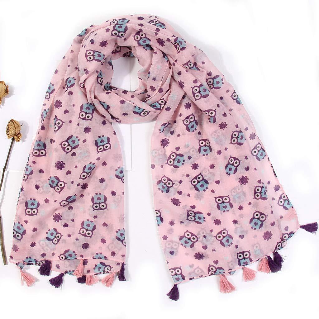 GNYD Neck Scarves For Womens Fashion Lightweight Chiffon French Shawl Wrap Fashion Winter Keep Warm Shawls Scarves Scarf Womens Owl Printed Tassel Scarfs